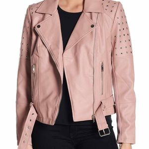 Blush pink faux leather jacket